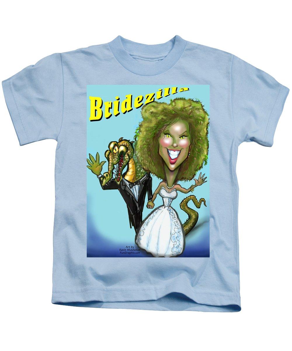 Bridezilla Kids T-Shirt featuring the greeting card Bridezilla by Kevin Middleton