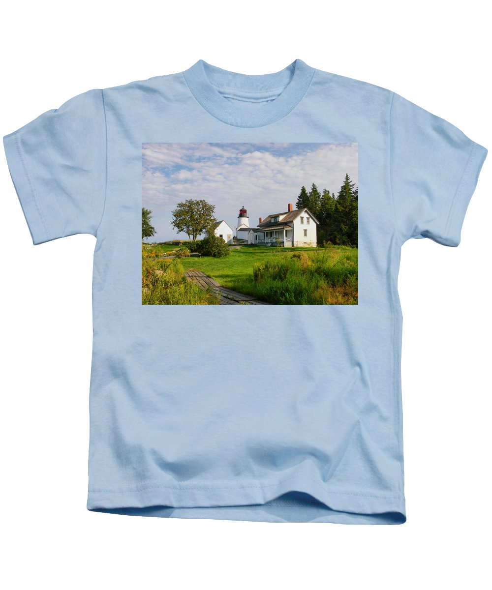 New England Lighthouse Kids T-Shirt featuring the photograph Burnt Island Lighthouse by Nancie DeMellia