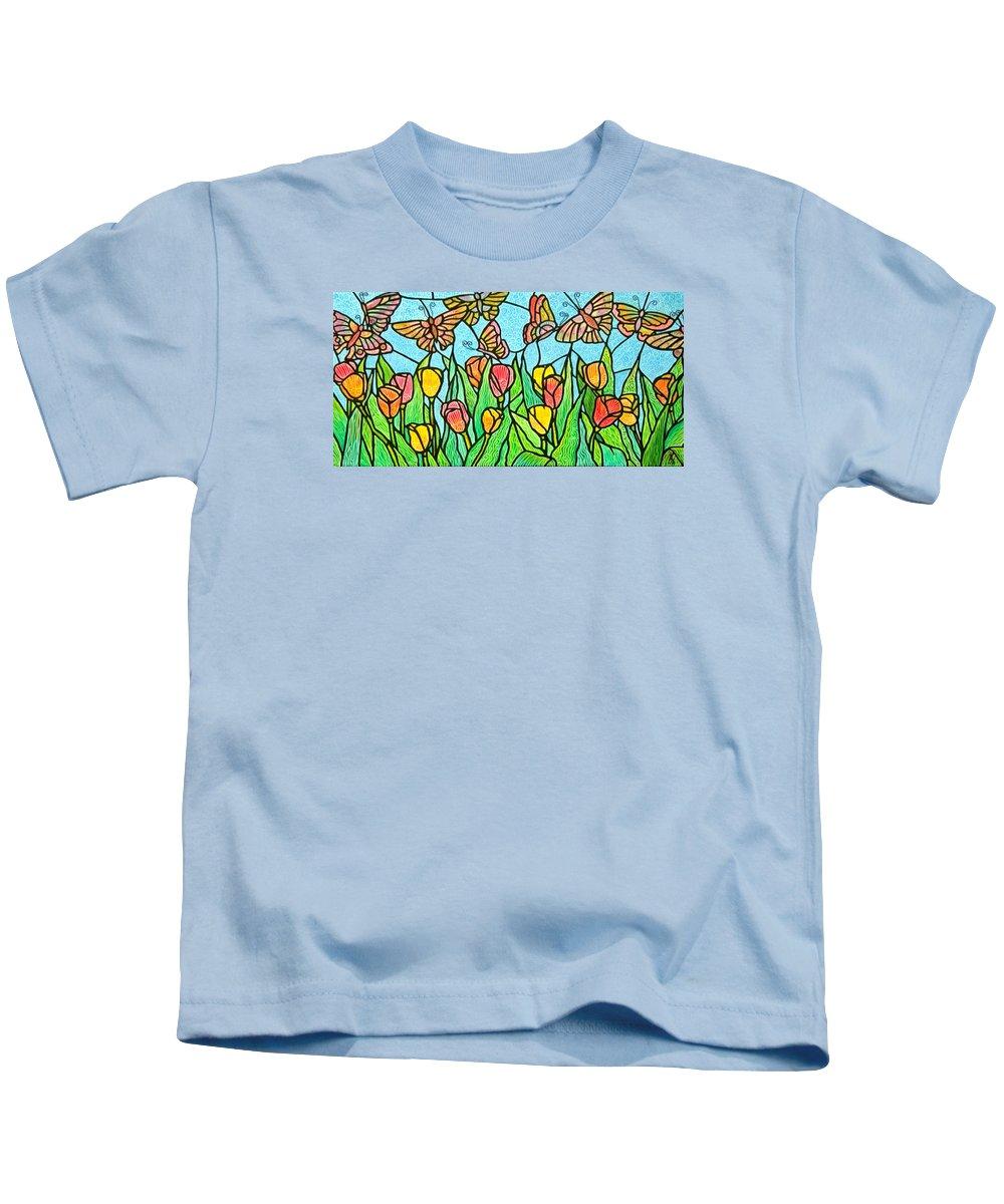 Butterflies Kids T-Shirt featuring the painting Butterflies in the Tulip Garden by Jim Harris