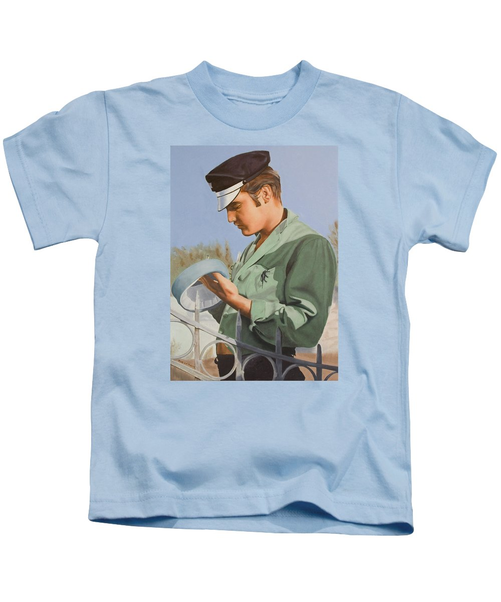 Singer Kids T-Shirt featuring the painting Elvis Presley by Rob De Vries