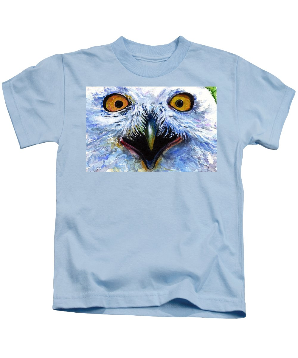 Eye Kids T-Shirt featuring the painting Eyes Of Owls No. 15 by John D Benson