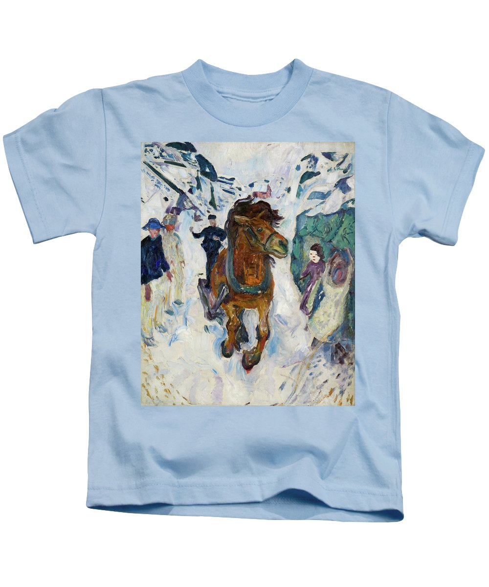 Edvard Munch Kids T-Shirt featuring the painting Galloping Horse by Edvard Munch