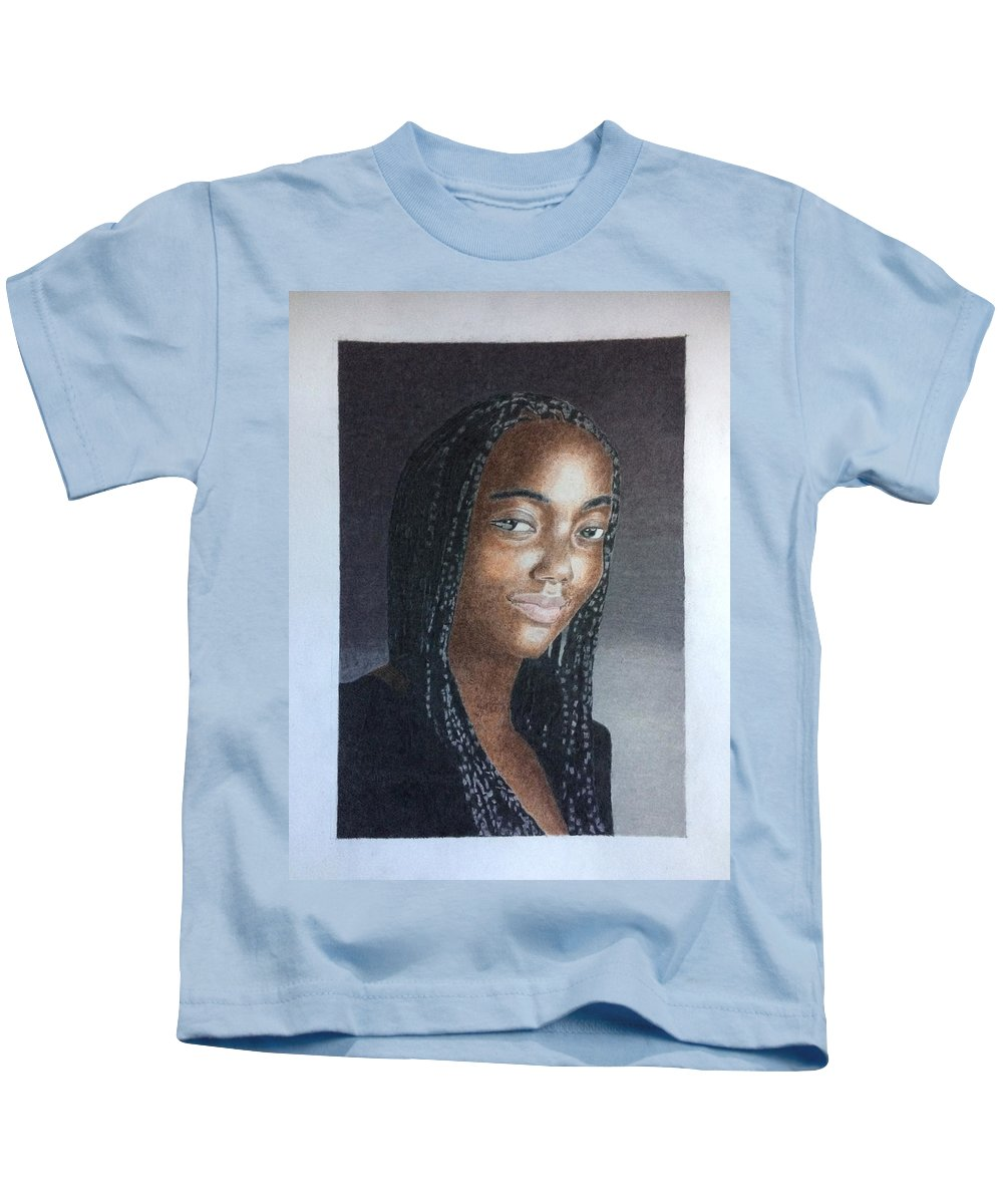 Kids T-Shirt featuring the drawing Girl With Braids by Alan Culkin