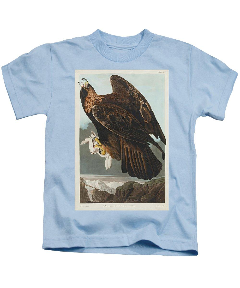 John James Audubon (after) Golden Eagle (plate Clxxxi) Kids T-Shirt featuring the painting Golden Eagle by John James