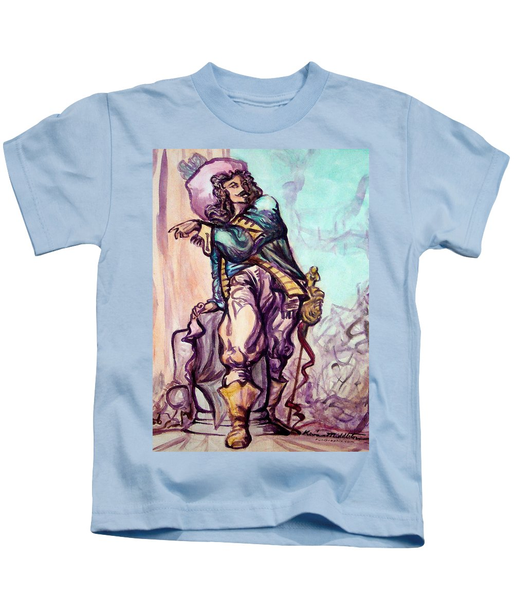 Musketeer Kids T-Shirt featuring the painting Musketeer by Kevin Middleton