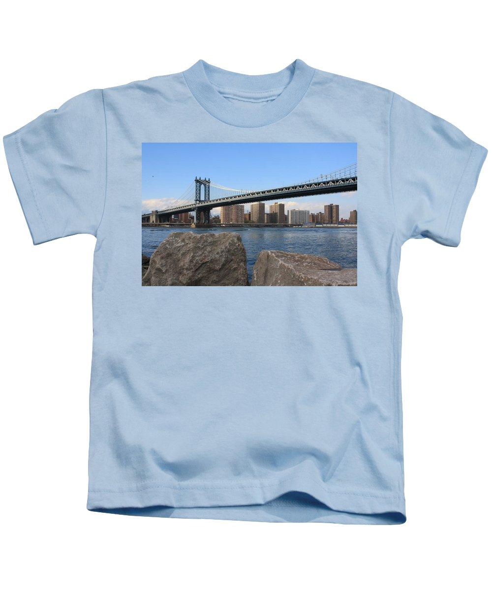 Nyc Kids T-Shirt featuring the photograph New York's Manhattan Bridge by Dora Sofia Caputo Photographic Design and Fine Art