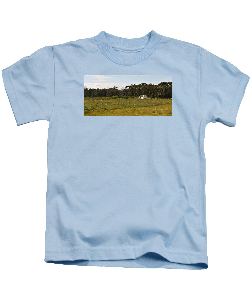 Landscape; Little; Farm House; Old; Overberg; Trees; Western Cape; South Africa; Morning; Farm Land; Grass; Green; Meadow; Lagoon; Water; White; Blue Gum Trees; Eucalyptus Trees; Kids T-Shirt featuring the photograph old Farm house by Werner Lehmann