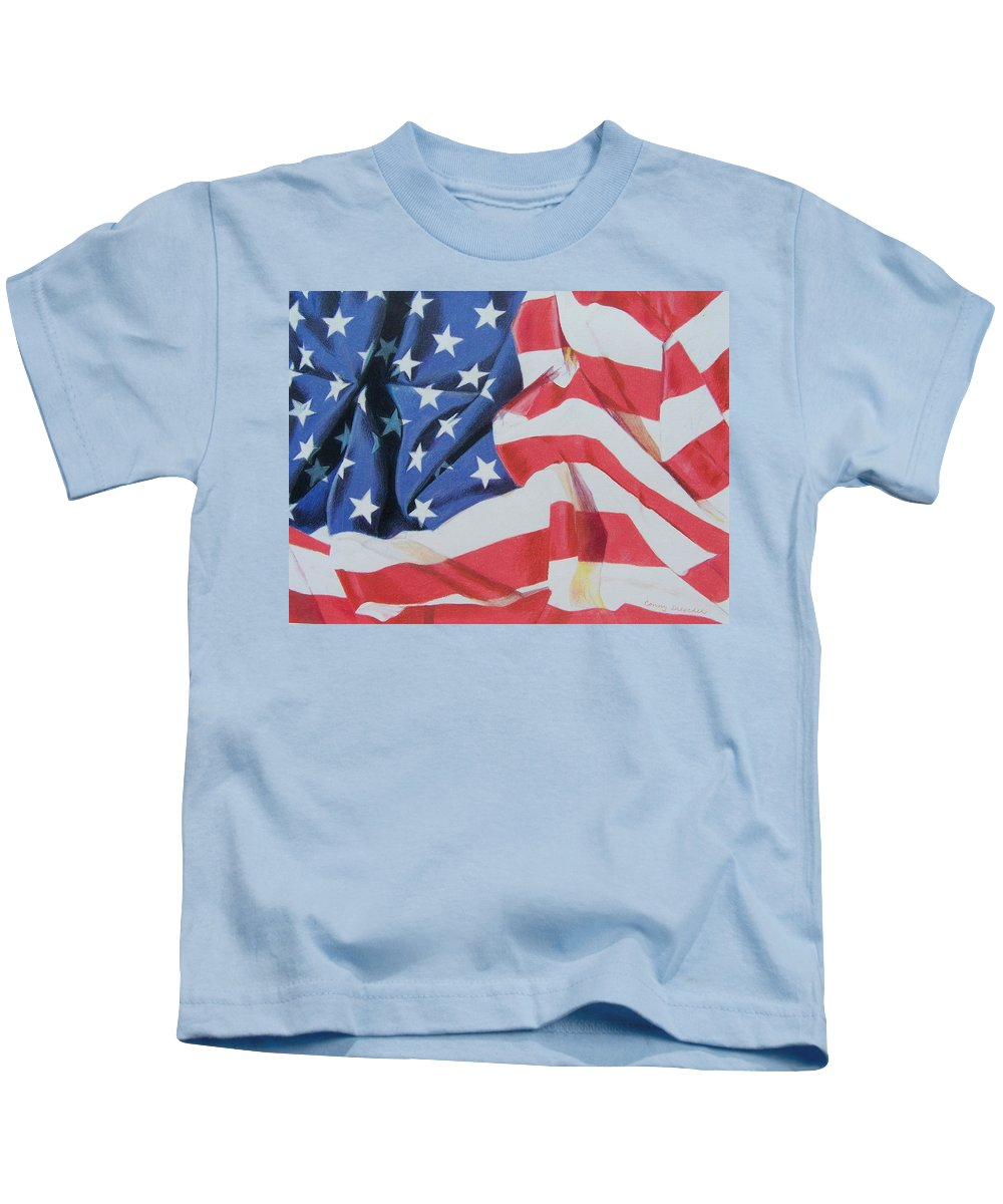 Flag Kids T-Shirt featuring the mixed media Old Glory by Constance Drescher