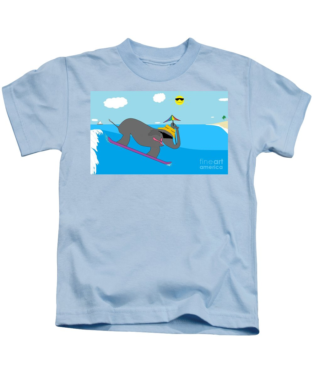 For Children Kids T-Shirt featuring the digital art Surf Paddy by Rick Maxwell