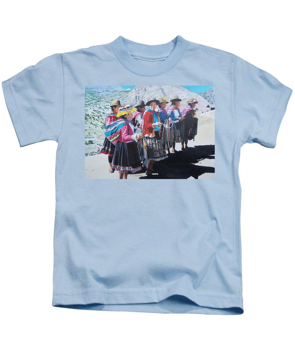 Outdoors Kids T-Shirt featuring the mixed media Peruvian Ladies by Constance Drescher