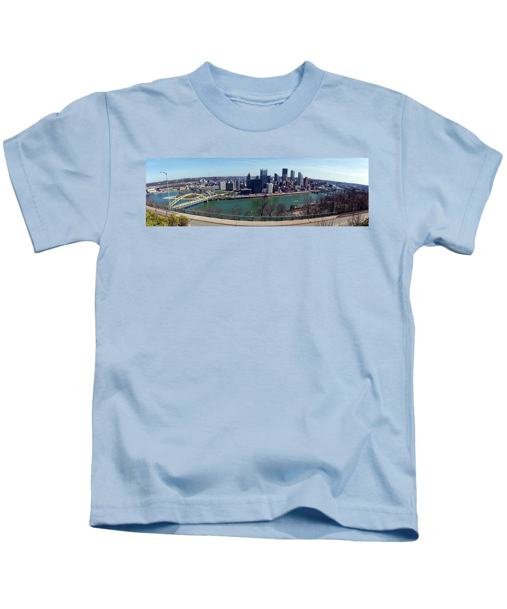 Panorama Kids T-Shirt featuring the photograph Pittsburgh Panorama by Noel Baebler