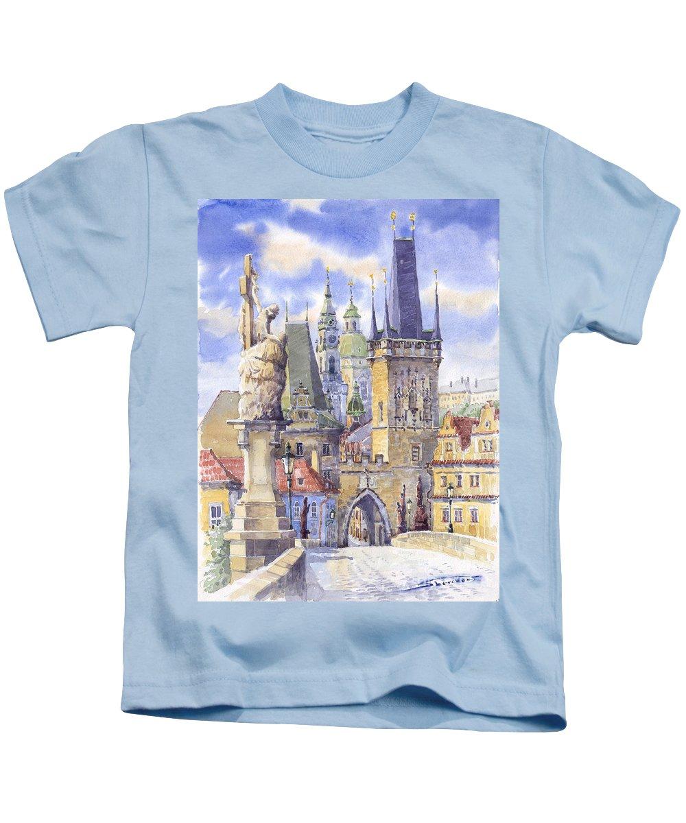 Watercolour Kids T-Shirt featuring the painting Prague Charles Bridge by Yuriy Shevchuk