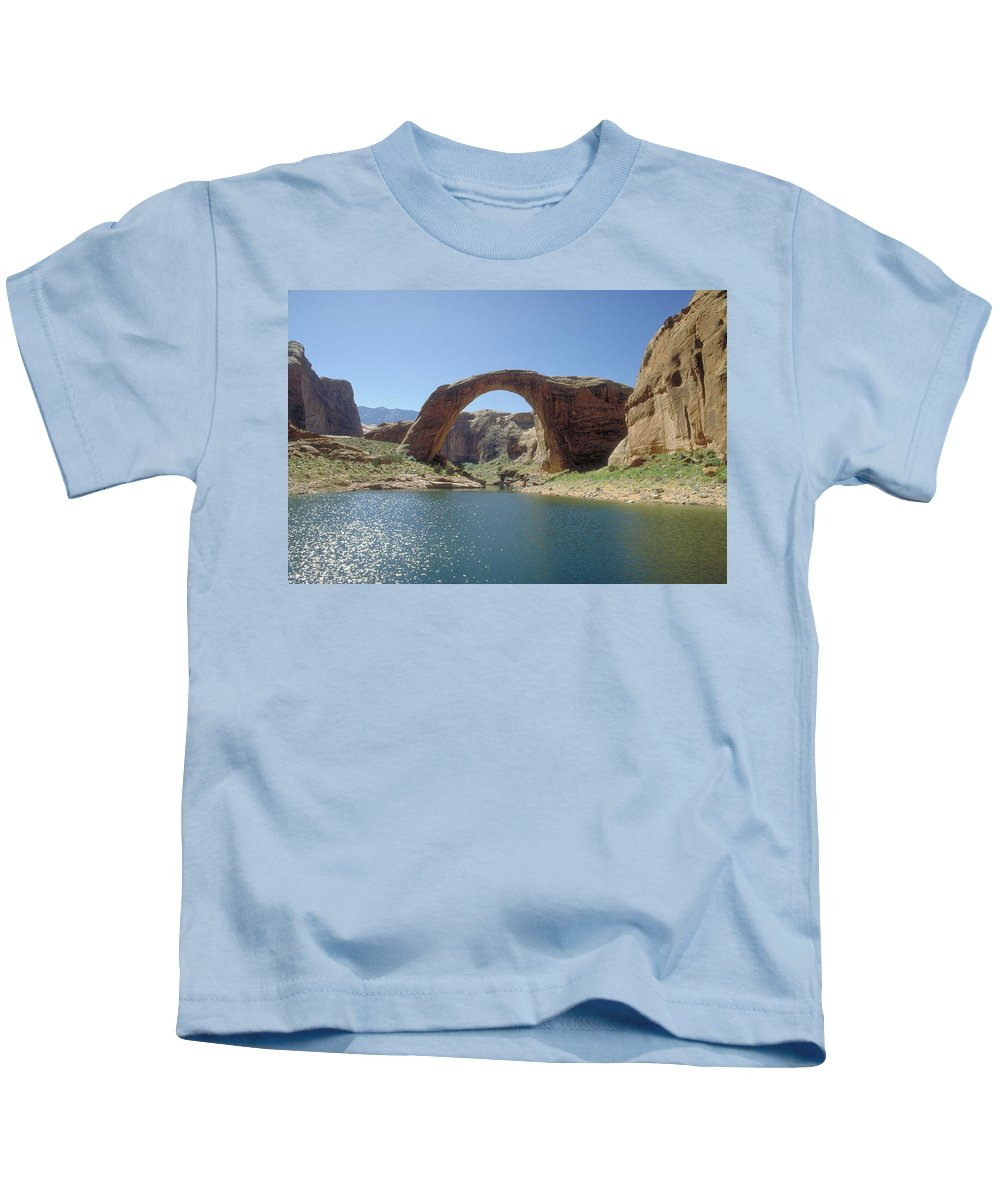 Rainbow Bridge Kids T-Shirt featuring the photograph Rainbow Bridge by Jerry McElroy