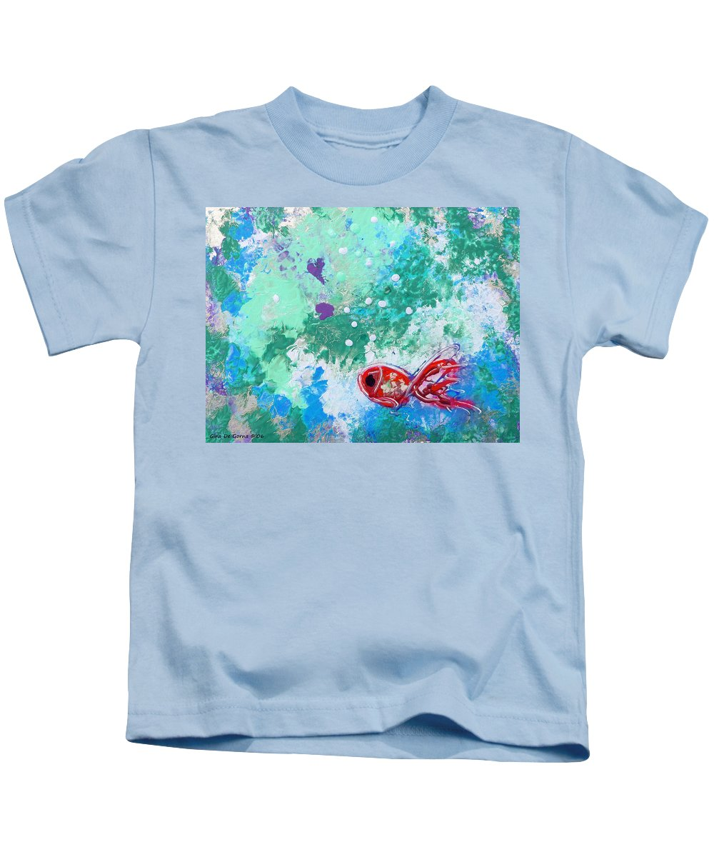 Fish Kids T-Shirt featuring the painting 1 Red Fish by Gina De Gorna
