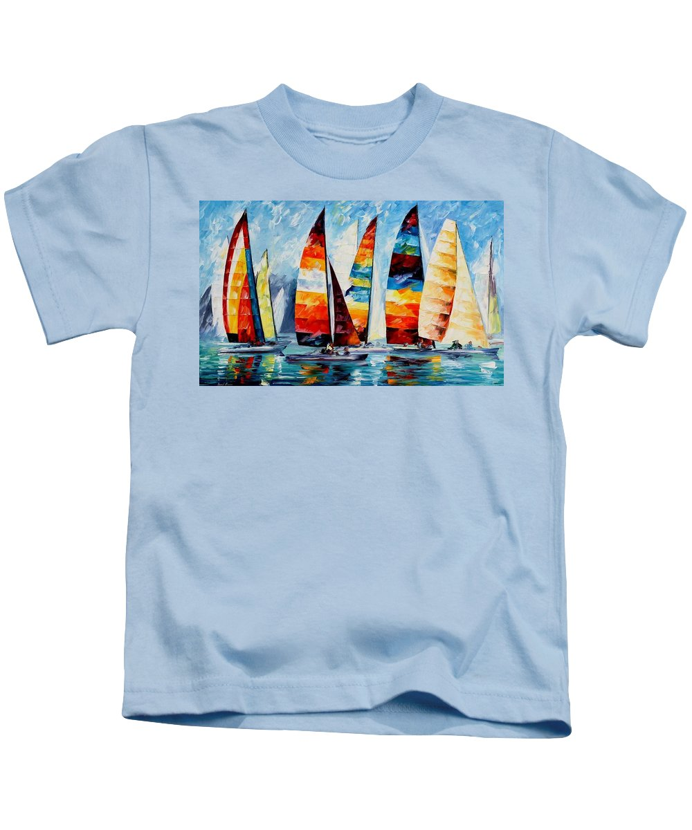 Afremov Kids T-Shirt featuring the painting Sail Regatta by Leonid Afremov