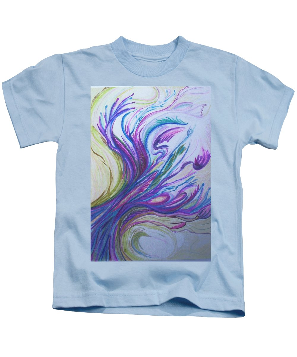 Abstract Kids T-Shirt featuring the painting Seaweedy by Suzanne Udell Levinger