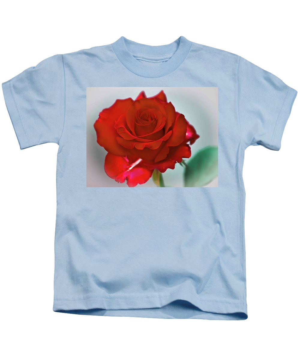 Rose Kids T-Shirt featuring the photograph Simply Red by DigiArt Diaries by Vicky B Fuller