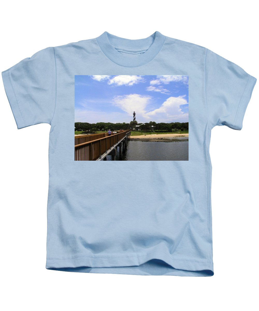 Lighthouse; Light; House; Keeper; St. Augustine; Florida; Coast; Shine; Fog; Storms; U.s.; Coast Gua Kids T-Shirt featuring the photograph St Augustine Light On The Atlantic Coast Of Florida by Allan Hughes