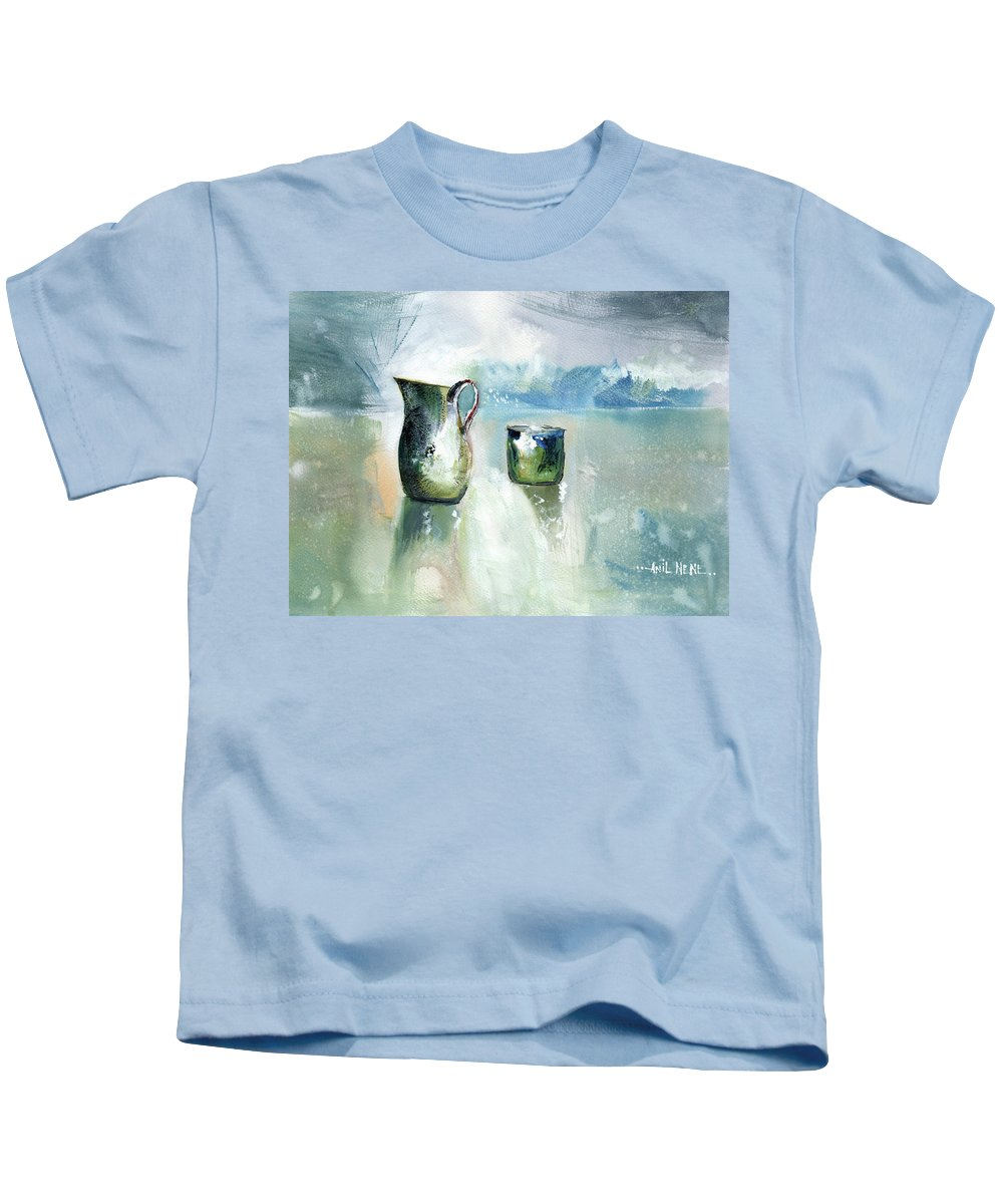 Nature Kids T-Shirt featuring the painting Steel Life by Anil Nene