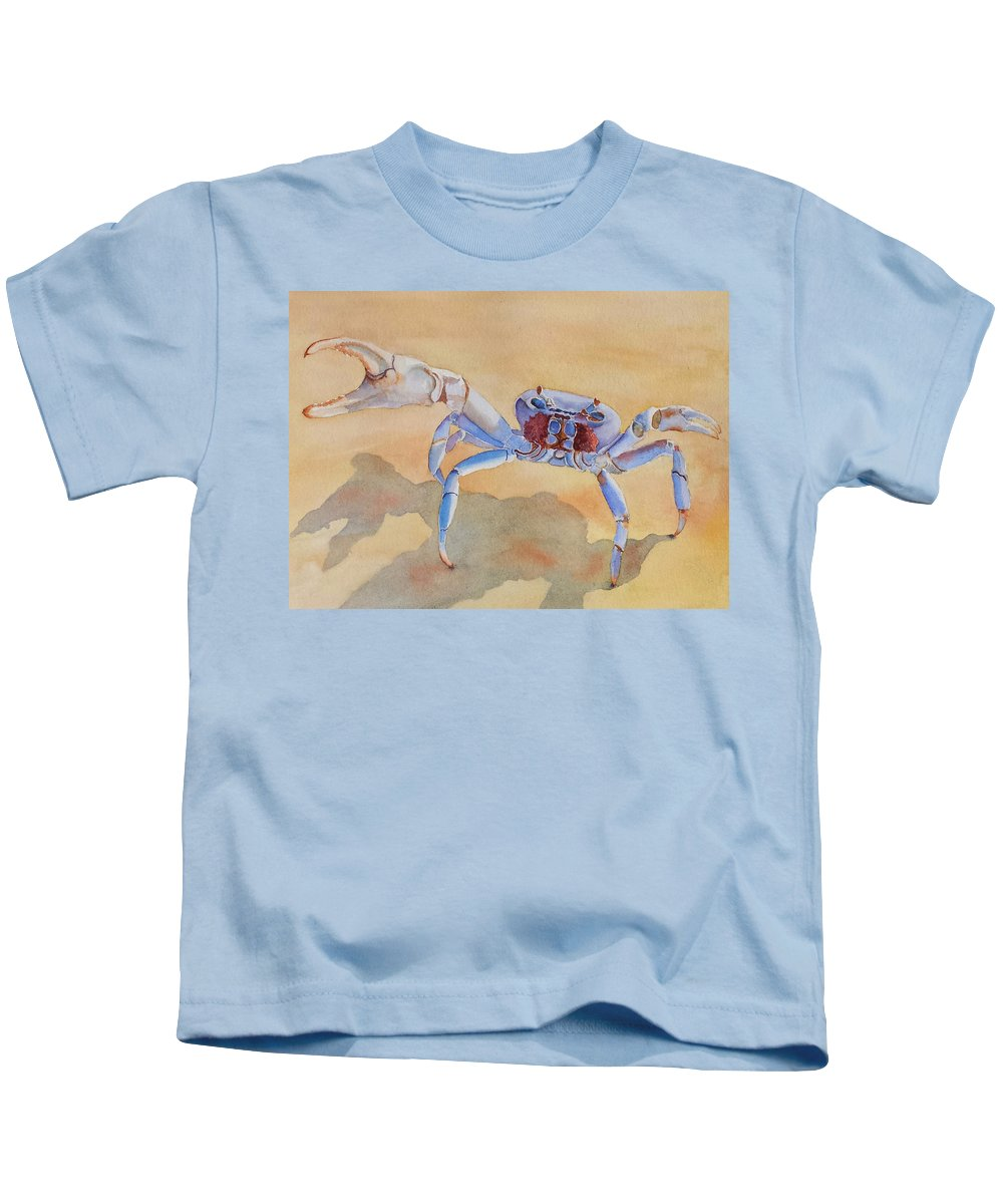 Crab Kids T-Shirt featuring the painting Talk To The Claw by Judy Mercer