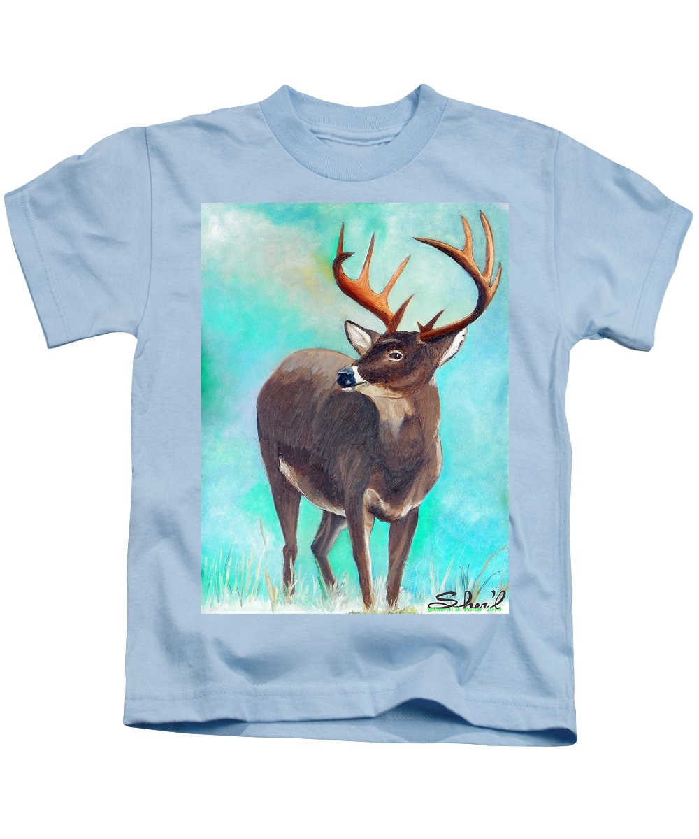 Kids T-Shirt featuring the painting the Buck Stops Here by Sherril Porter