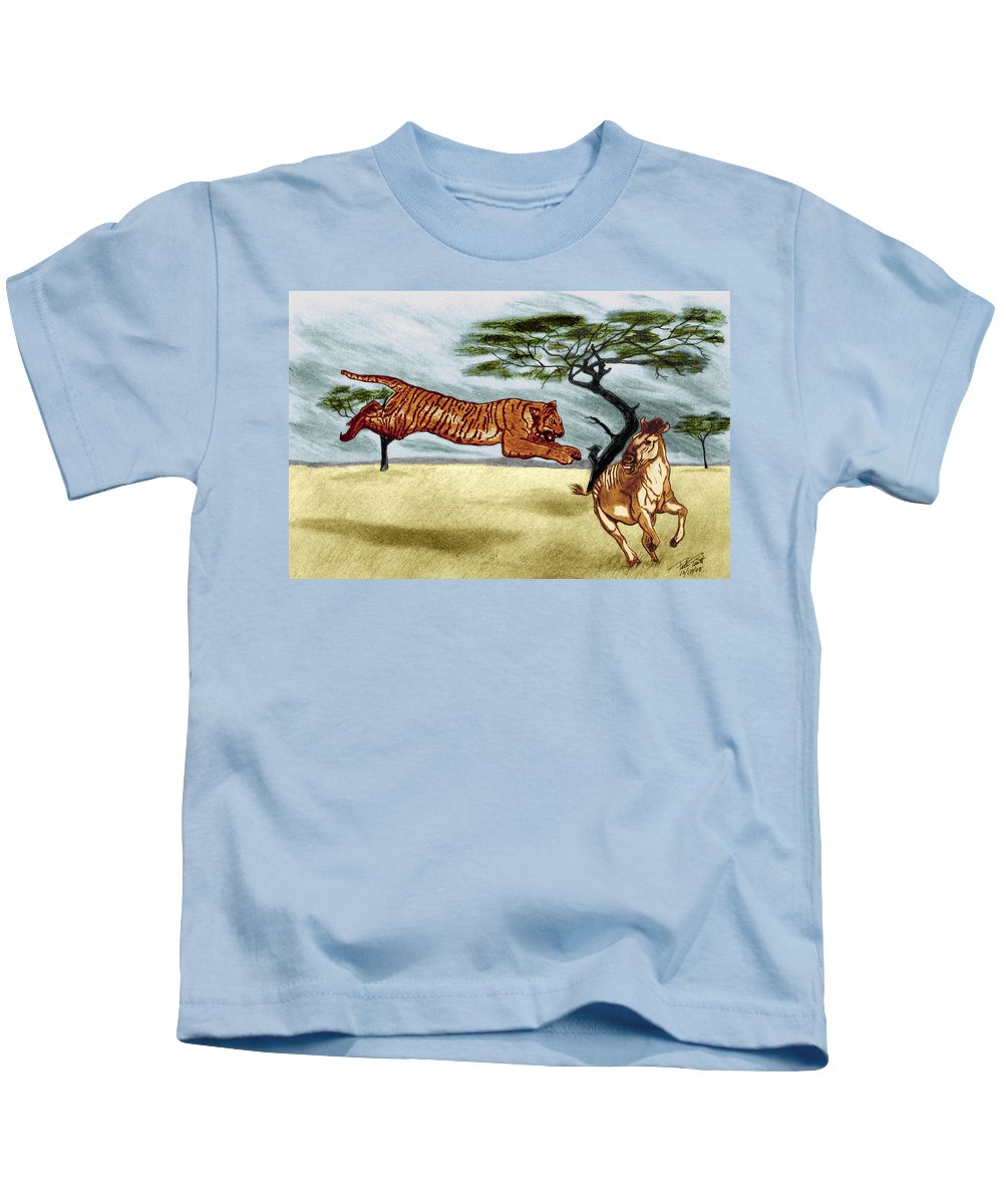 The Lunge Kids T-Shirt featuring the drawing The Lunge by Peter Piatt