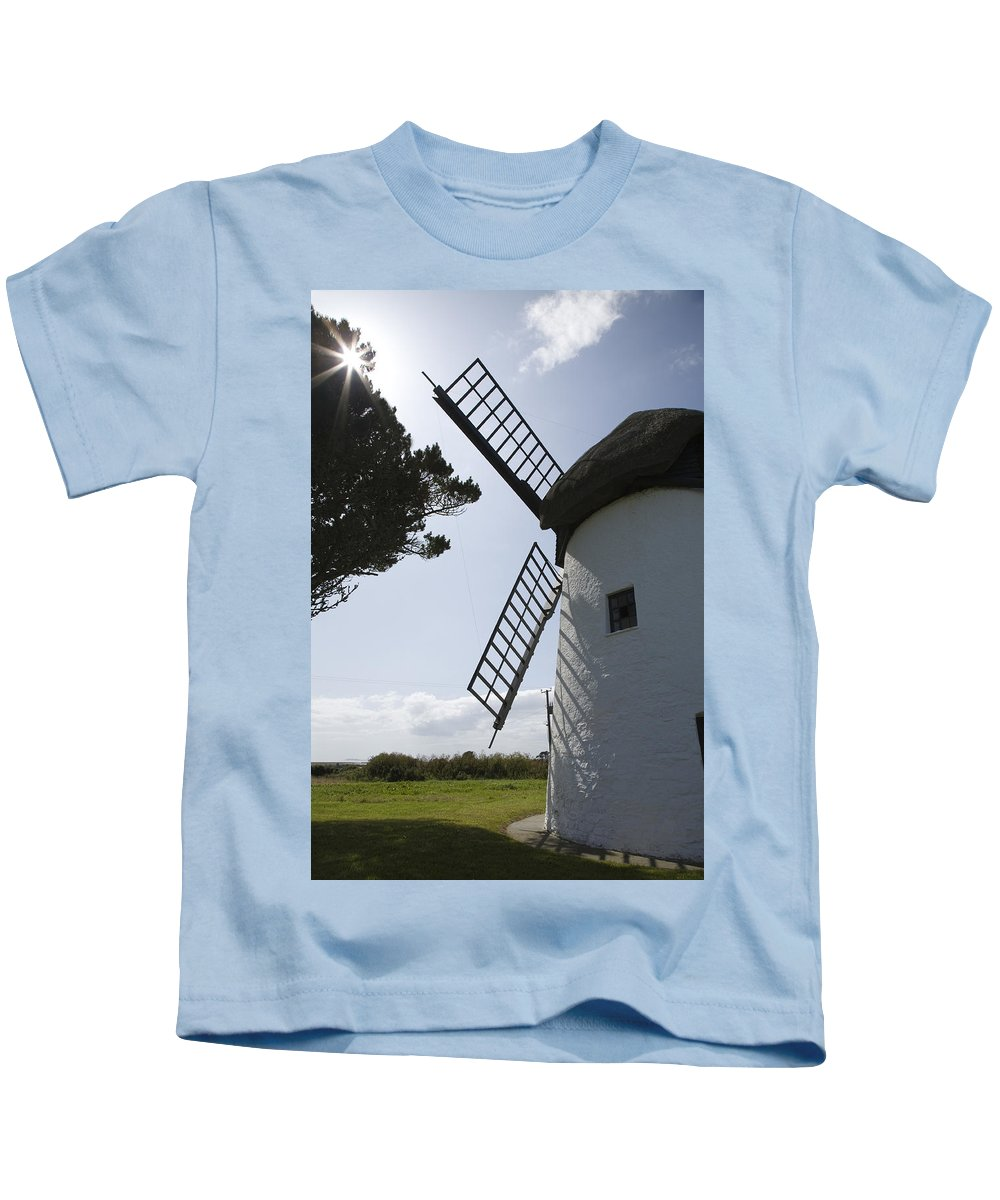 Historic Kids T-Shirt featuring the photograph The Old Irish Windmill by Ian Middleton