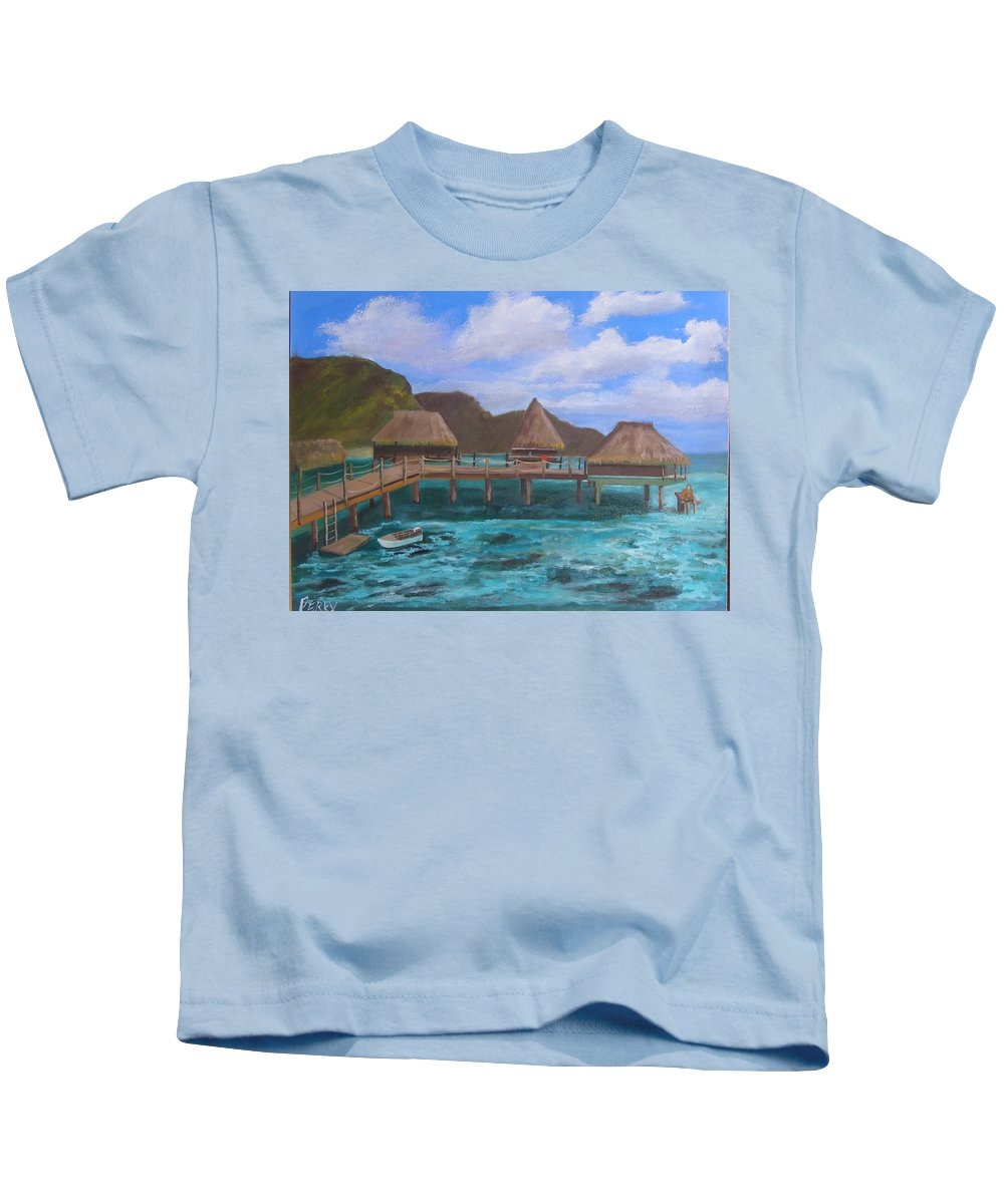 Resort Kids T-Shirt featuring the painting Tiki Hut Vacation by Mark Perry