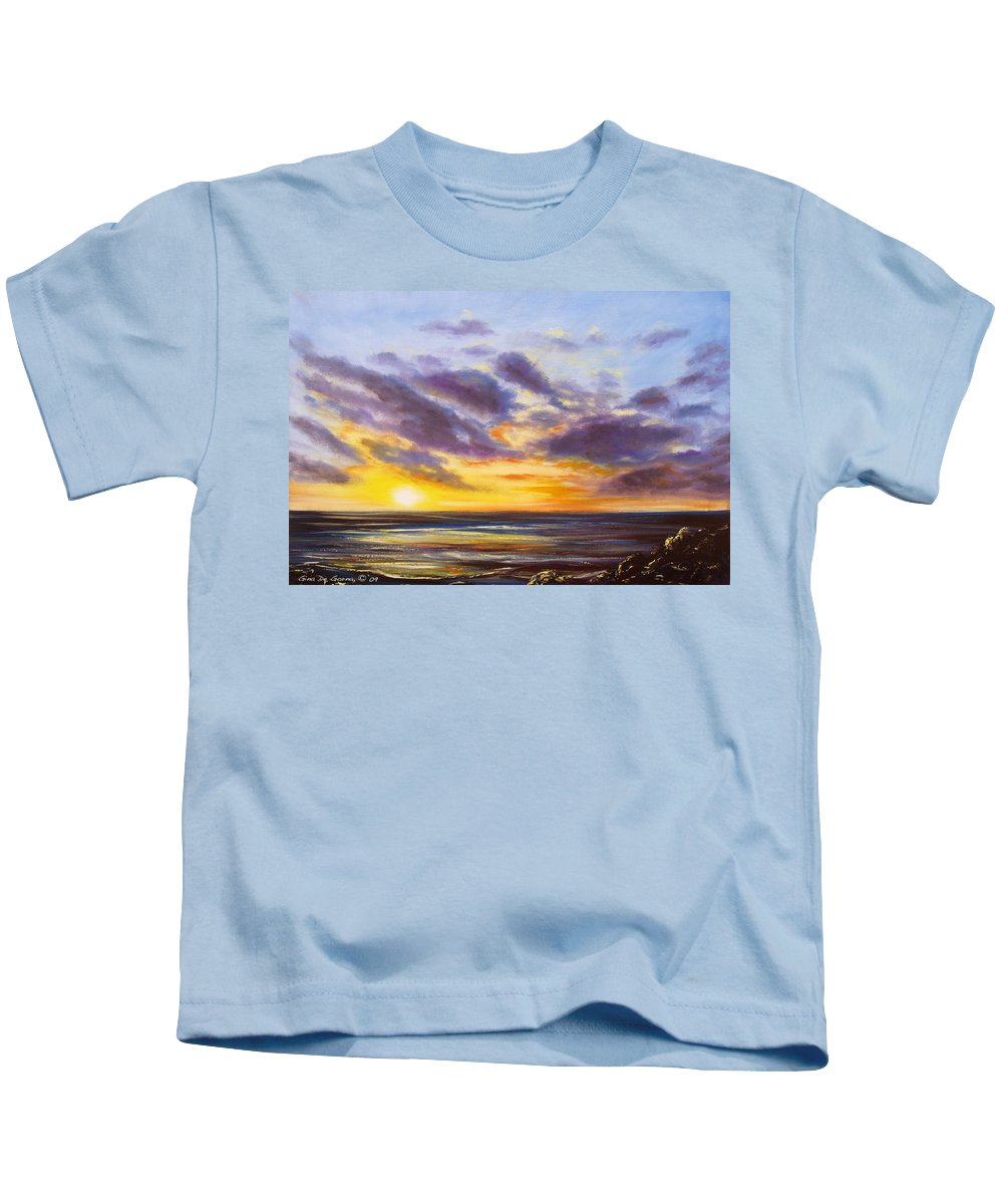 Tropical Kids T-Shirt featuring the painting Tropical Sunset by Gina De Gorna