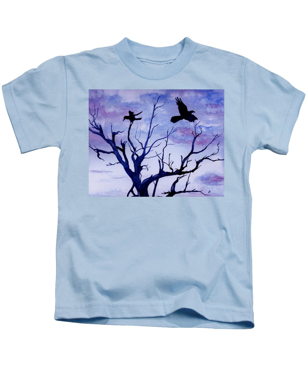 Watercolor Landscape Birds Raven Crow Flight Tree Sunset Sky Blue Clouds Scenic Kids T-Shirt featuring the painting Twilight Flight by Brenda Owen