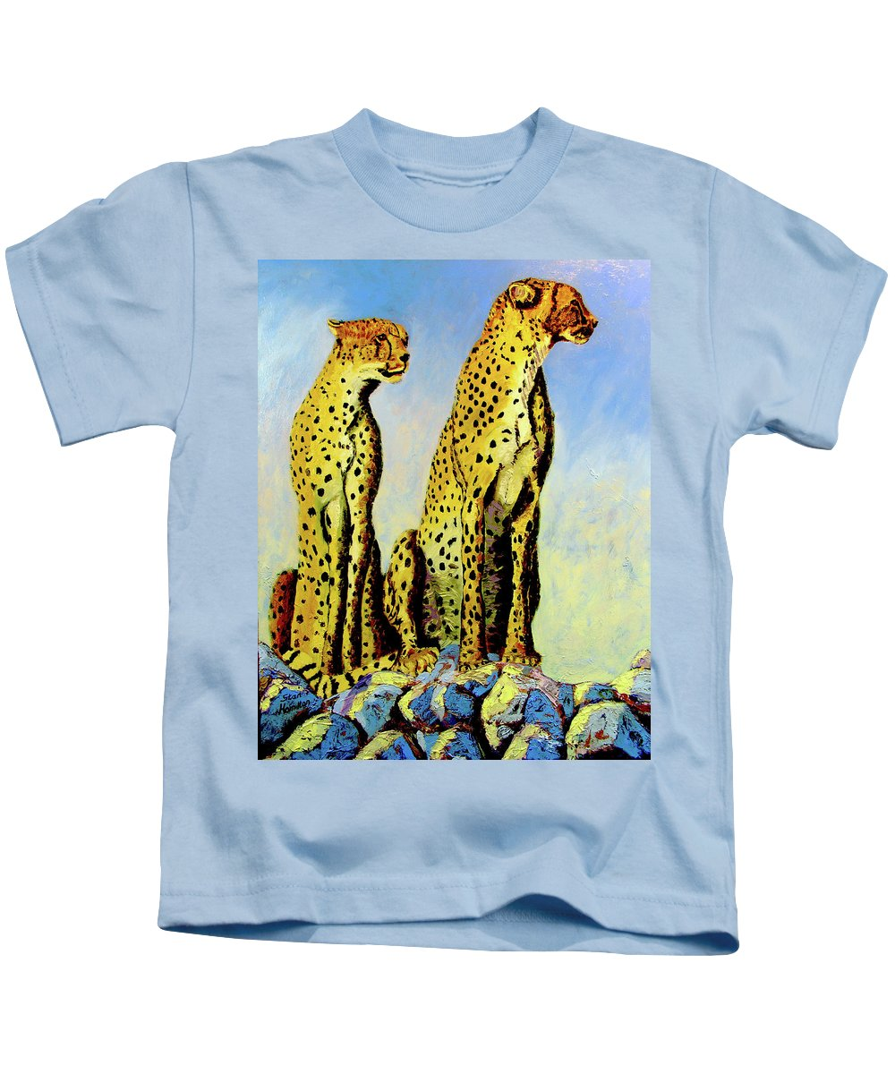 Cheetahs Kids T-Shirt featuring the painting Two Cheetahs by Stan Hamilton