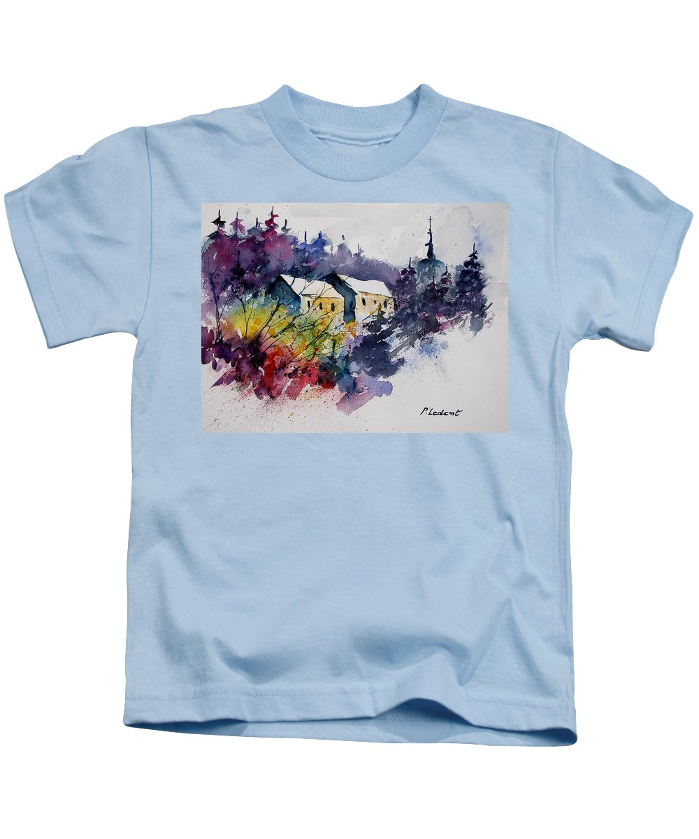 Winter Kids T-Shirt featuring the painting Watercolor 231207 by Pol Ledent