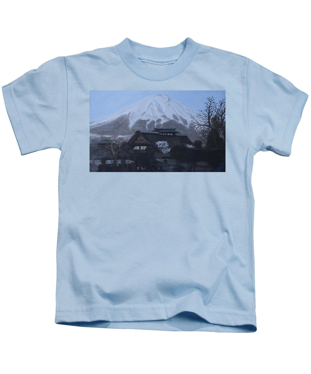 Mountain Kids T-Shirt featuring the painting Winter Morning by Masami Iida