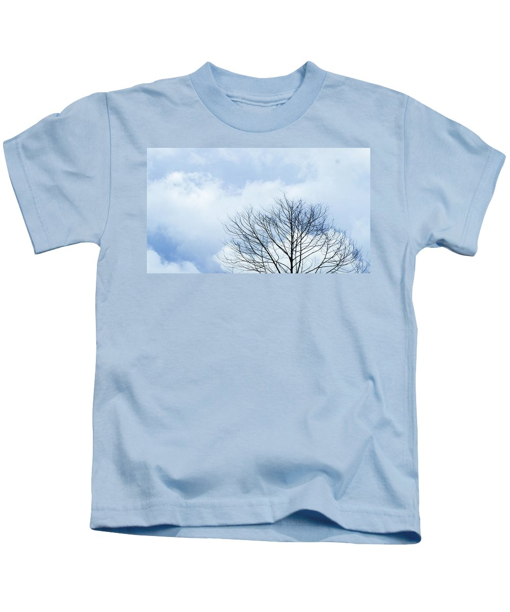 Winter Fall White Sky Kids T-Shirt featuring the photograph Winter Tree 1 by Adelista J