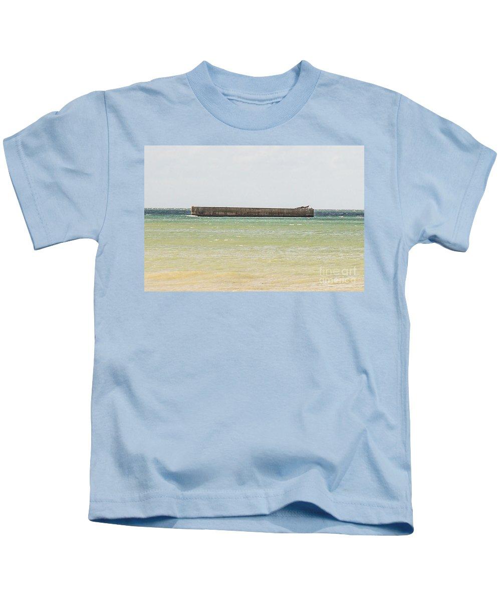 Allies Kids T-Shirt featuring the photograph Arromanches Beach by Kayme Clark