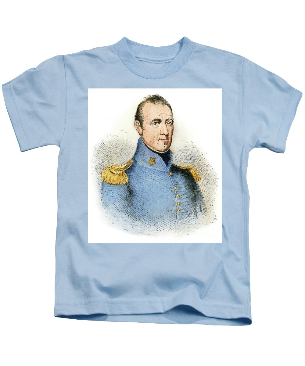 1837 Kids T-Shirt featuring the drawing Sam Houston, 1793-1863 by Granger