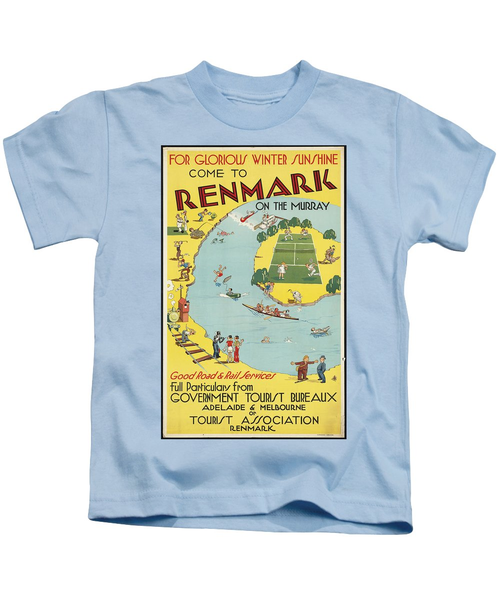 Public-domain-images-free-vintage-posters-0089 Kids T-Shirt featuring the painting Public Domain Images by MotionAge Designs