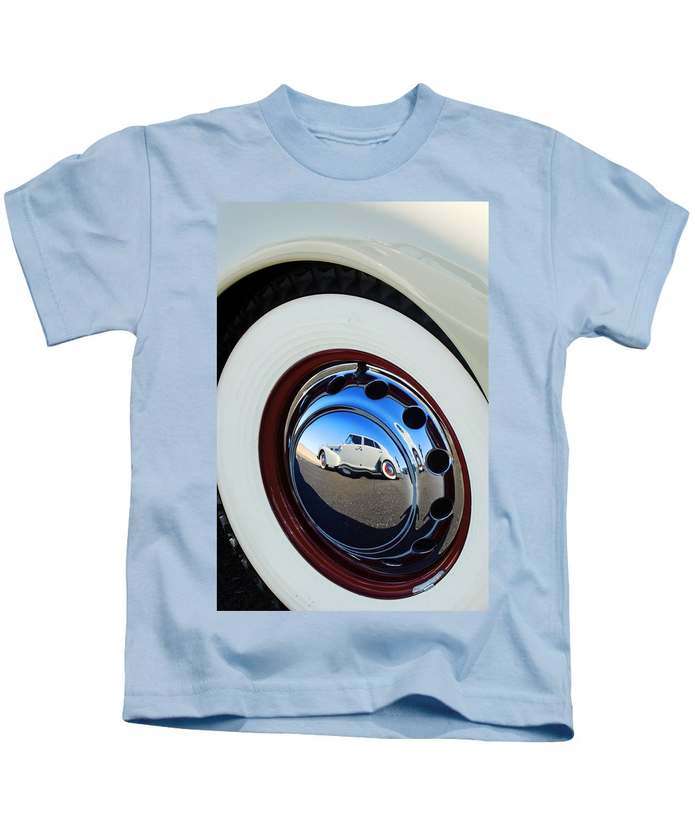 1940 Cadillac 60 Special Sedan Kids T-Shirt featuring the photograph 1936 Cord Phaeton Rim by Jill Reger