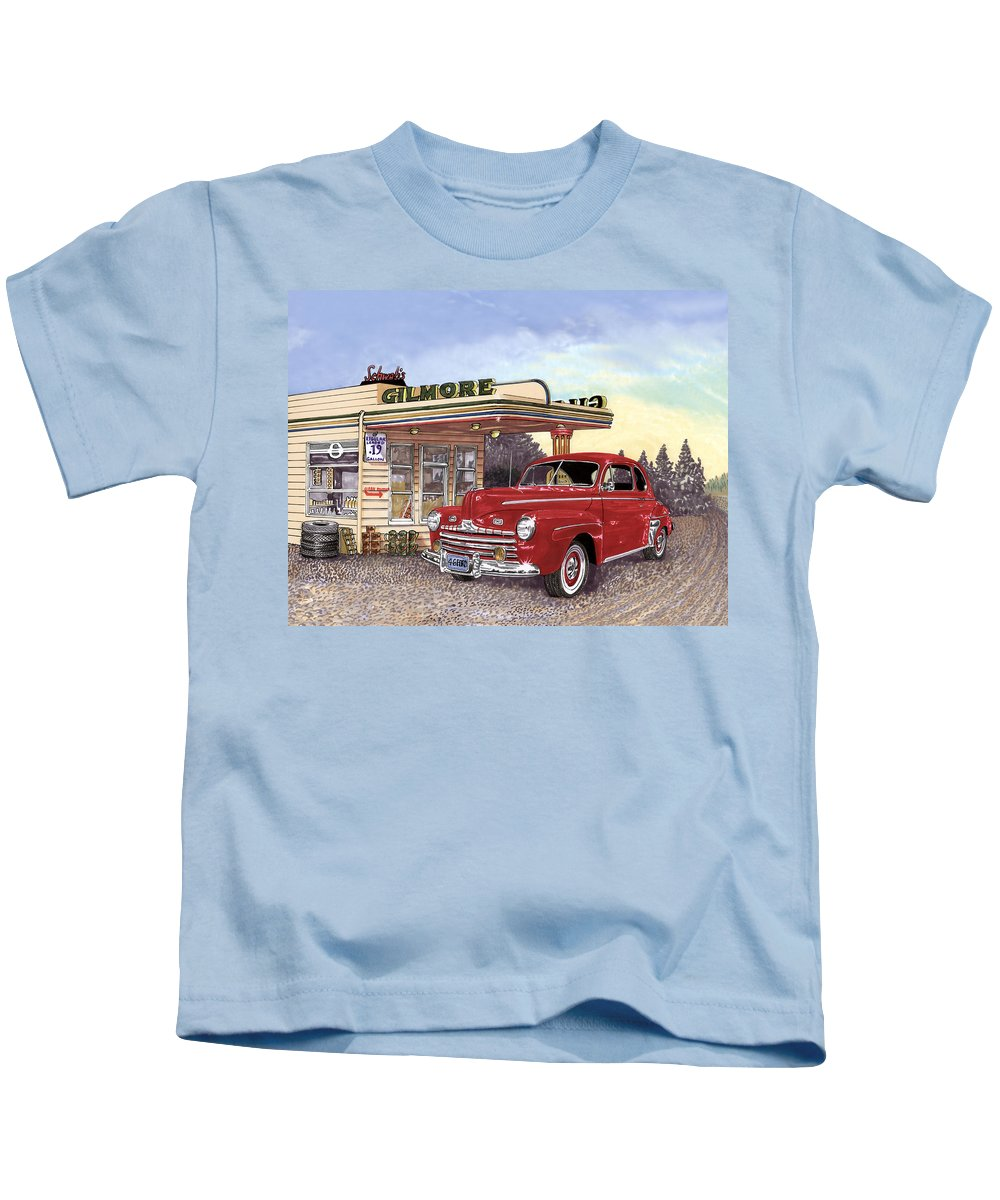 1946 Ford Deluxe Coupe Art Kids T-Shirt featuring the painting 1946 Ford Deluxe Coupe by Jack Pumphrey