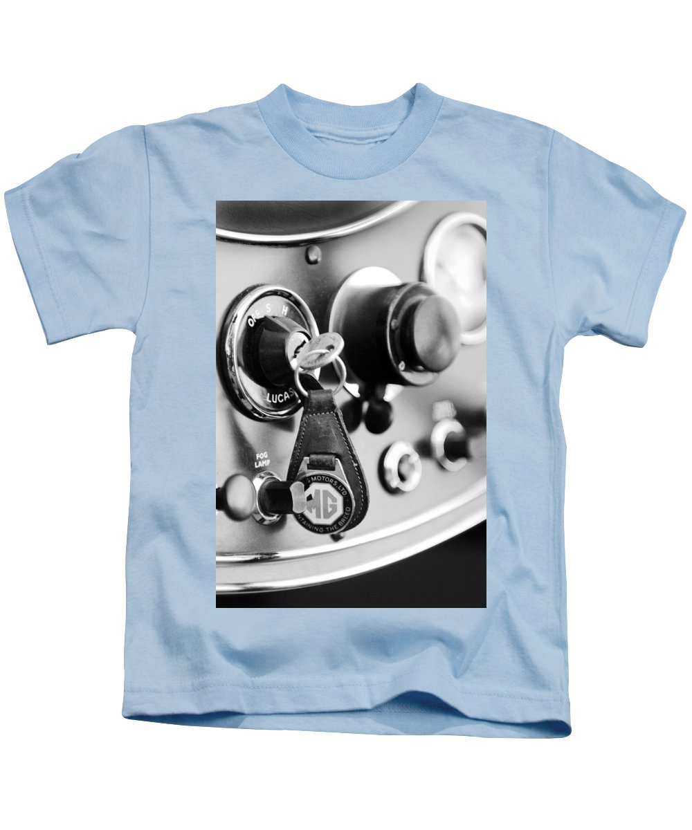 Transportation Kids T-Shirt featuring the photograph 1948 Mg Tc Key Ring Black And White by Jill Reger