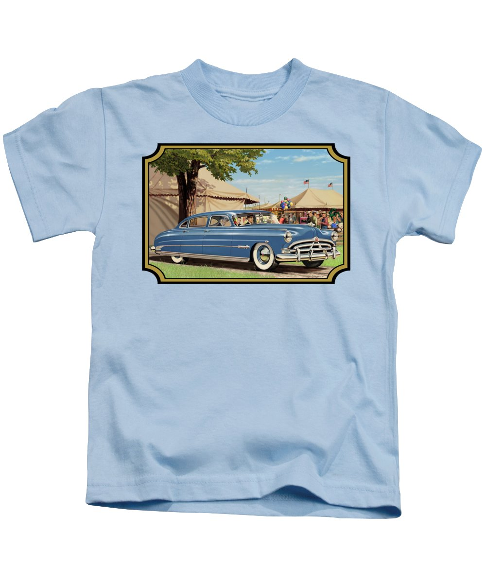 1951 Kids T-Shirt featuring the painting 1951 Hudson Hornet Fair Americana Antique Car Auto Nostalgic Rural Country Scene Landscape Painting by Walt Curlee