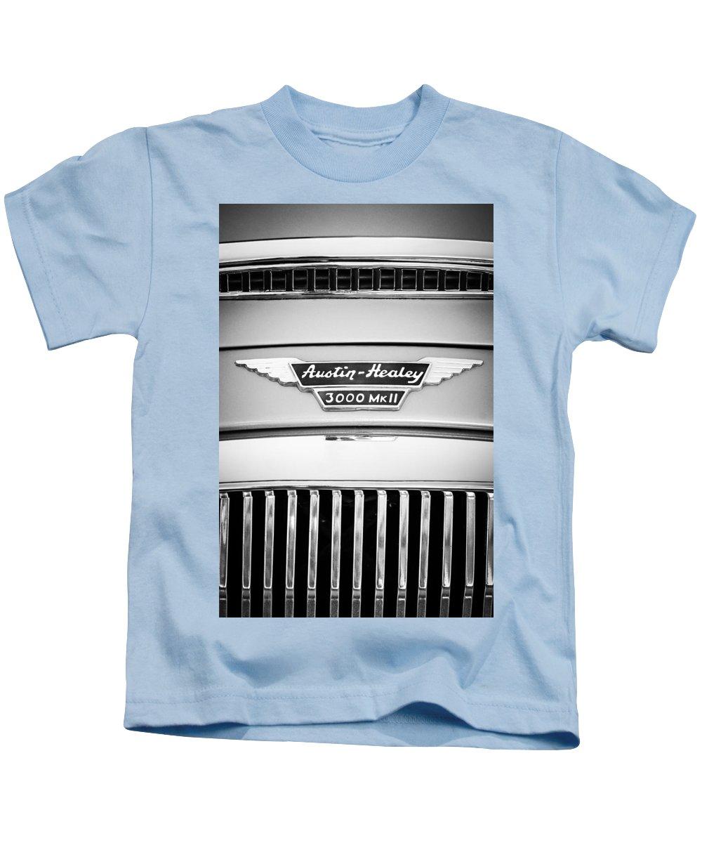 1963 Austin-healey 3000 Mk Ii Grille Emblem Kids T-Shirt featuring the photograph 1963 Austin-healey 3000 Mk II Black And White by Jill Reger