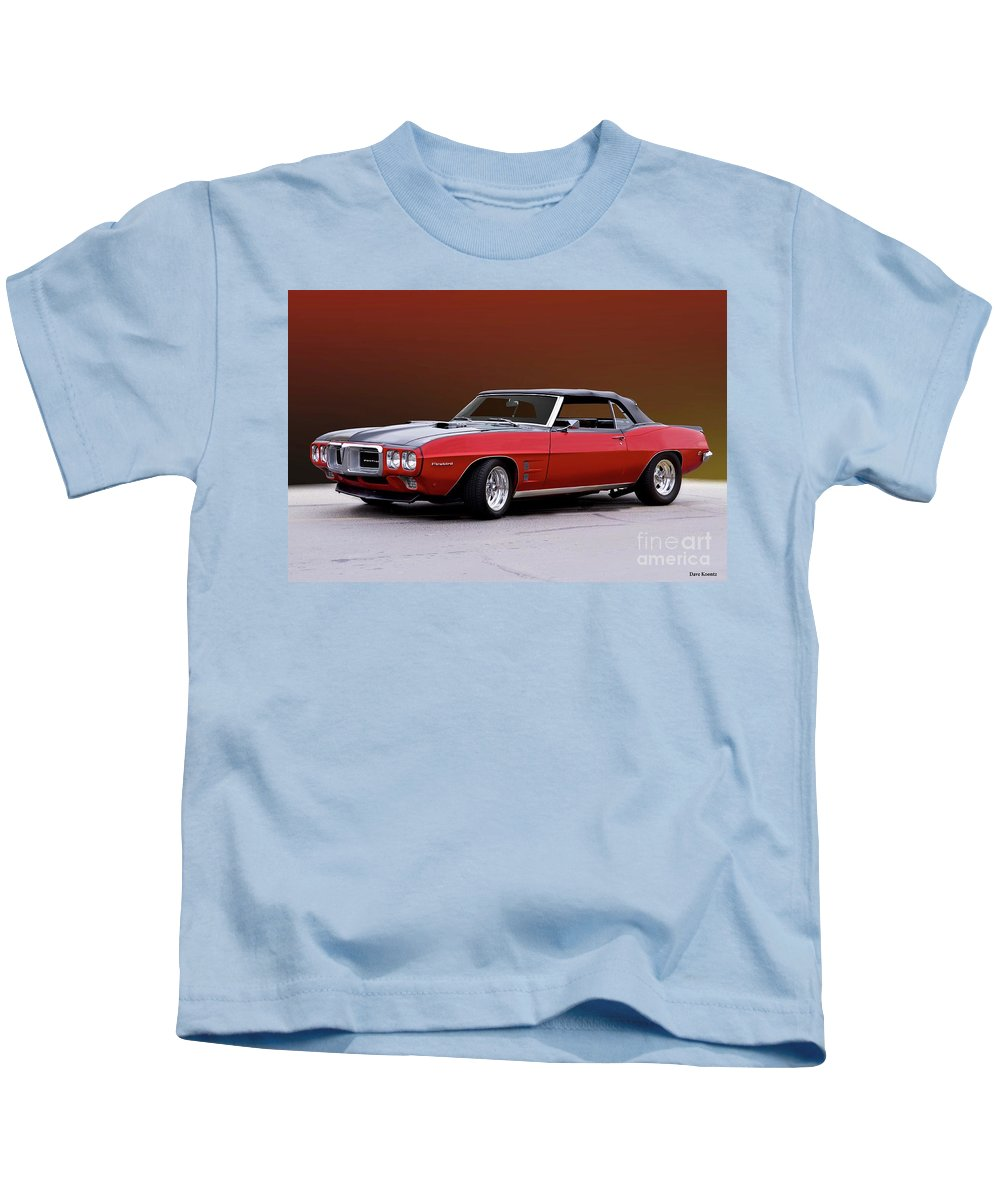 Automobile Kids T-Shirt featuring the photograph 1968 Pontiac Firebird 400 Convertible L by Dave Koontz