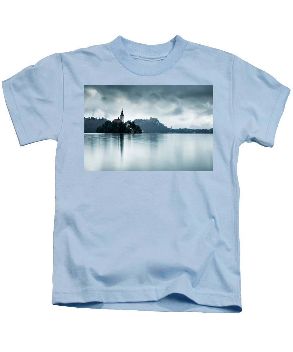 Bled Kids T-Shirt featuring the photograph After The Rain At Lake Bled by Ian Middleton