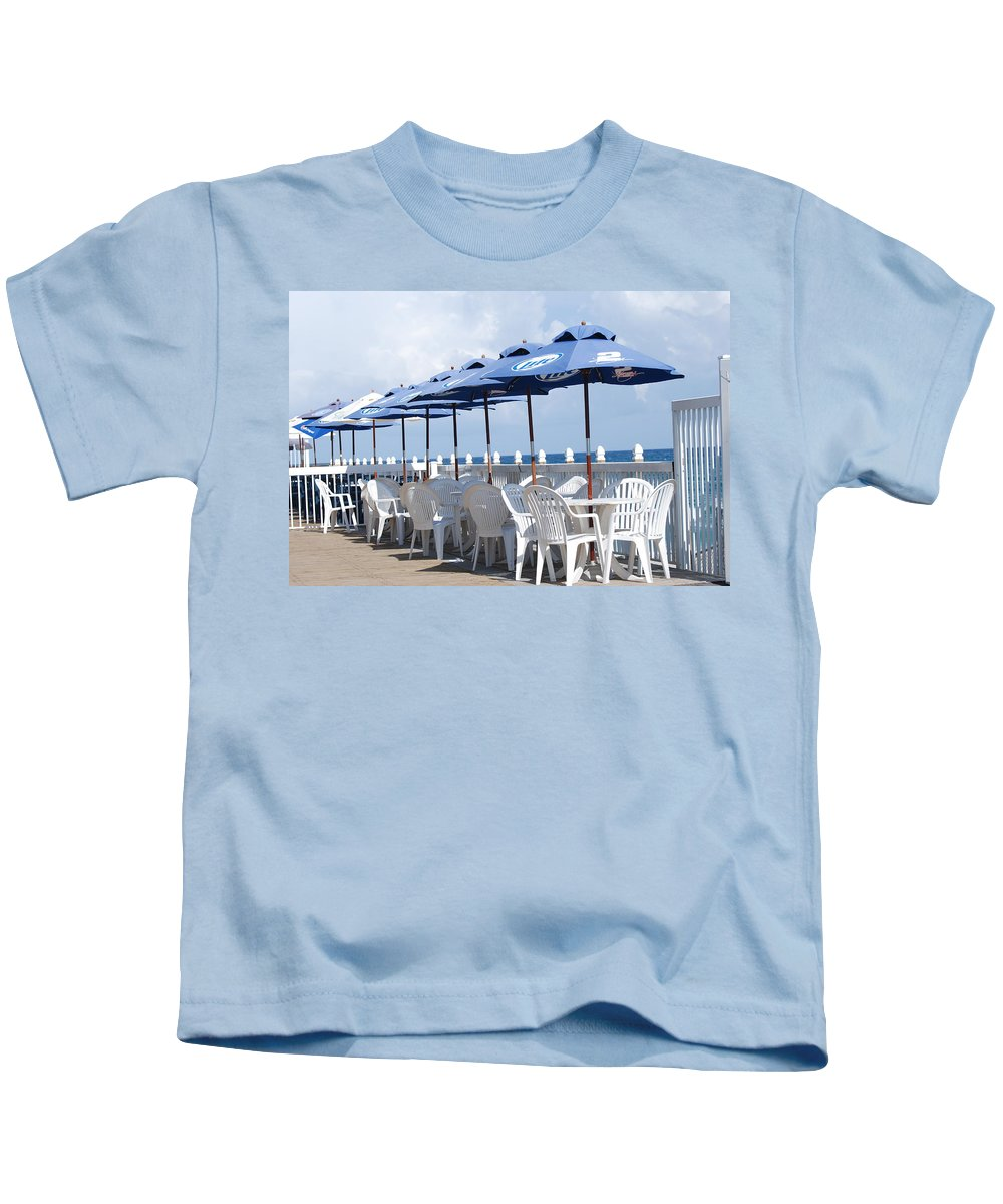 Chairs Kids T-Shirt featuring the photograph Beer Unbrellas by Rob Hans