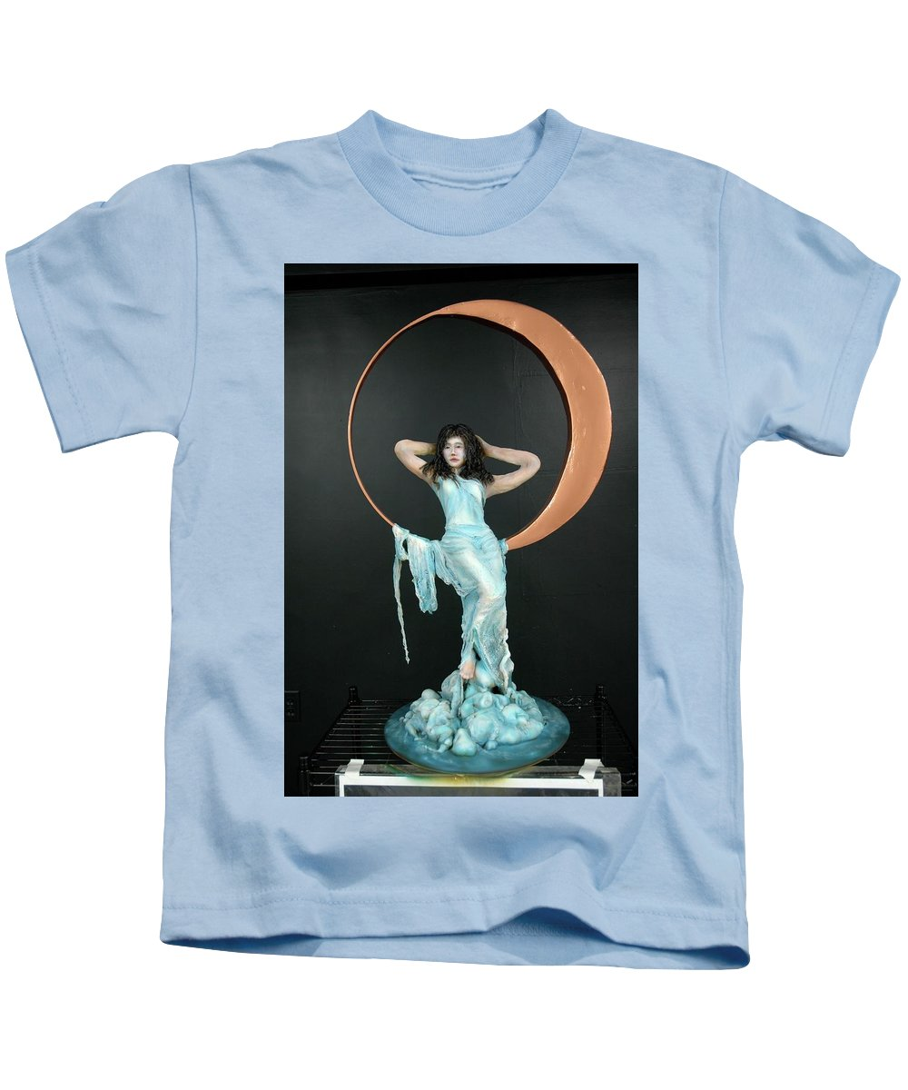 Kids T-Shirt featuring the sculpture Charles Hall - Creative Arts Program - First Quarter Moon by Wayne Pruse