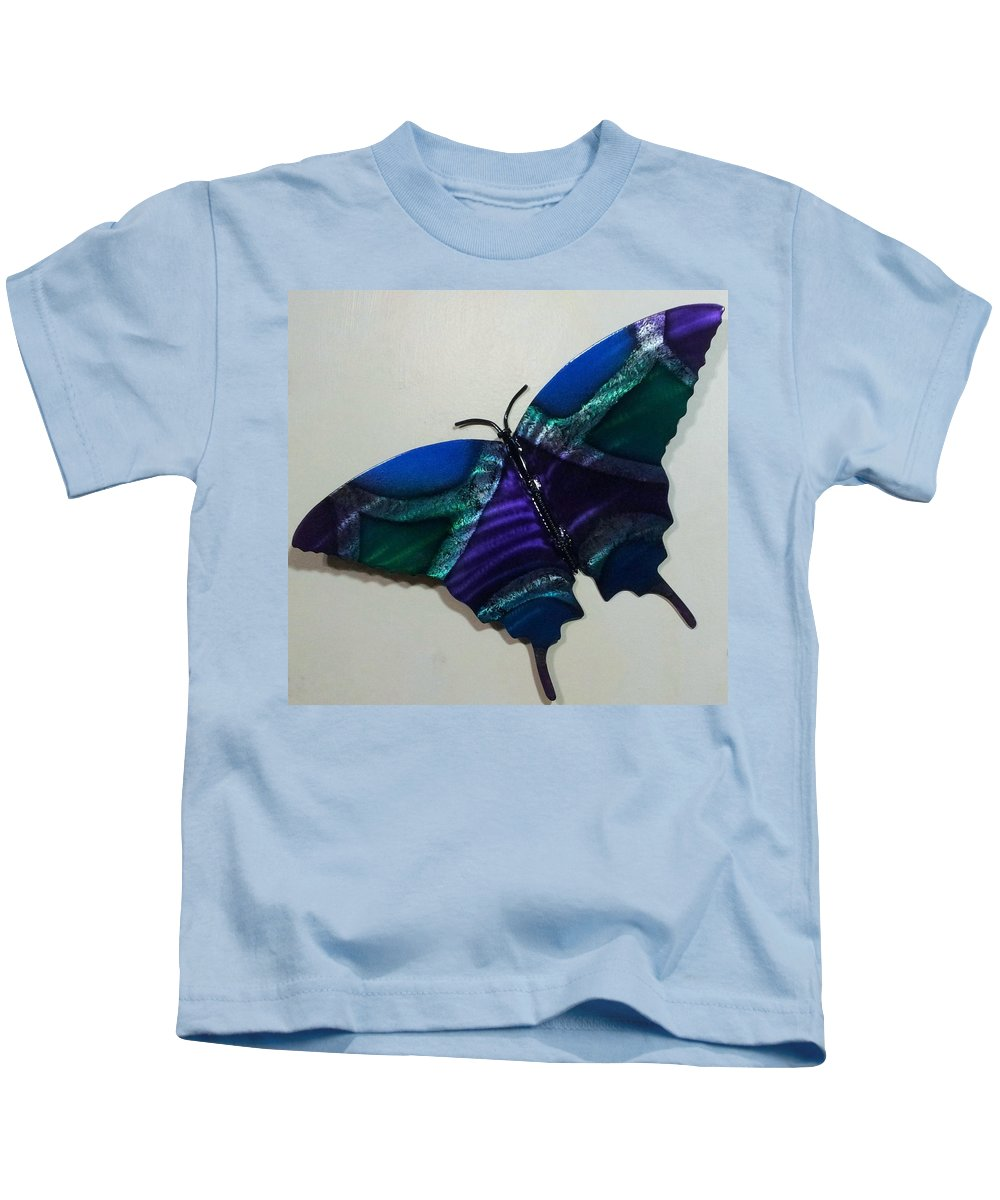 Butterfly Kids T-Shirt featuring the relief Fly Away Butterfly by The Torchcutters