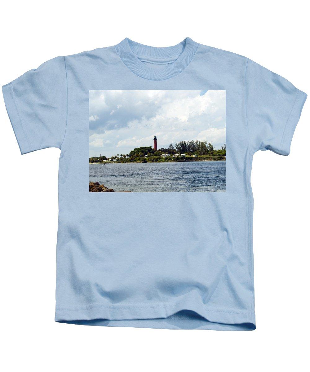 Florida; Juptier; Inlet; Loxahatchee; River; Atlantic; Coast; Shore; Beach; Light; Lighthouse; Beaco Kids T-Shirt featuring the photograph Jupiter Florida by Allan Hughes