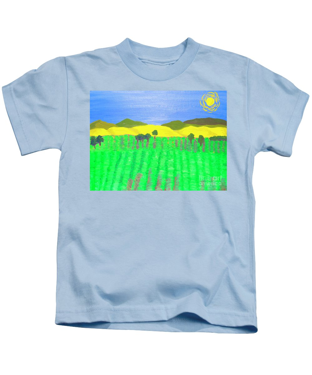 Lavender Kids T-Shirt featuring the painting Lavender Field by Irina Afonskaya