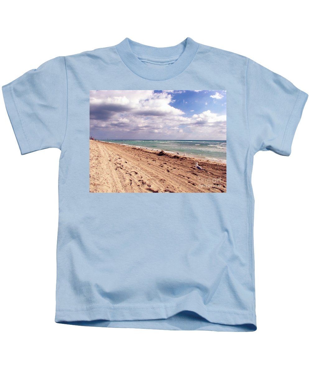 Beaches Kids T-Shirt featuring the photograph Miami Beach by Amanda Barcon